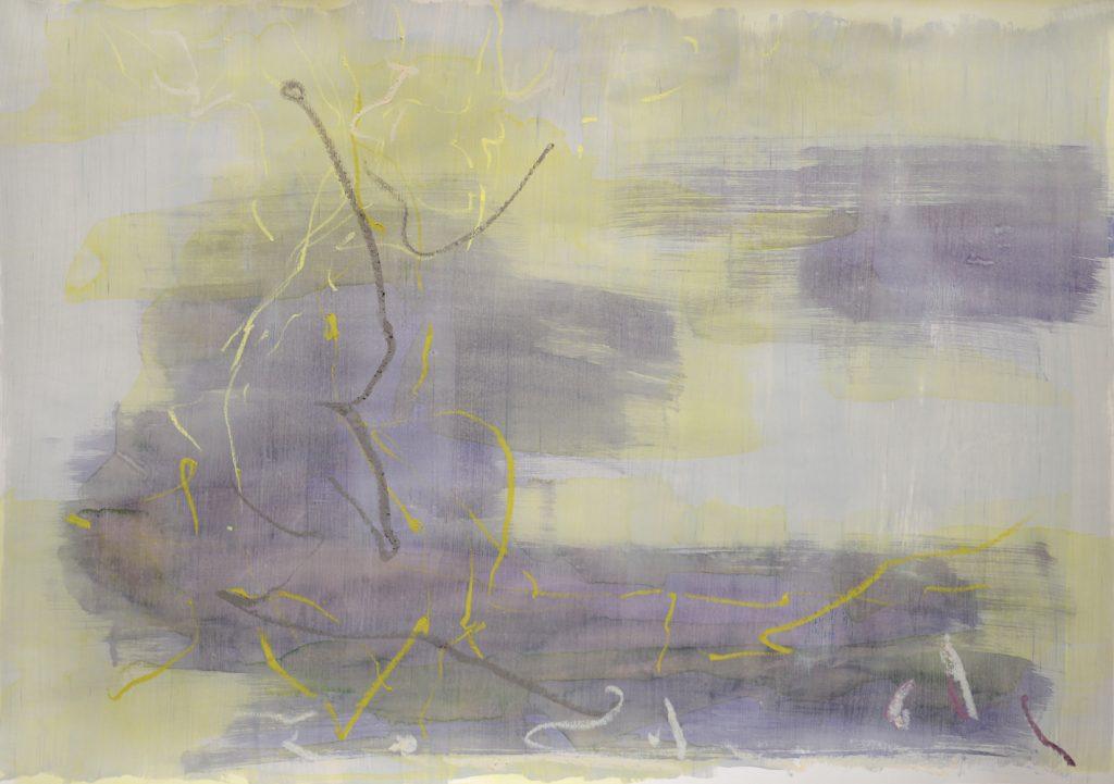 Abstrakte Zeichnung eines Baumes über gelb-violettem Aquarell