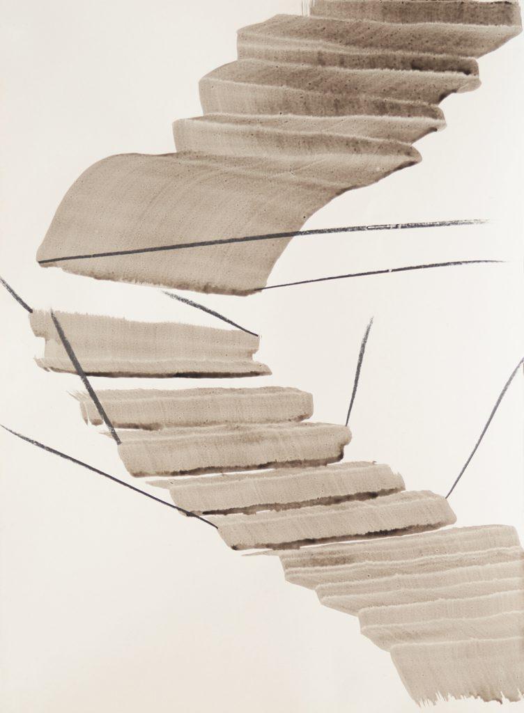 In Grauschattierung gemalte Stufen, die eine Treppe oder eine Schaukel bilden, dabei von Graphitlinien strebenartig gehalten